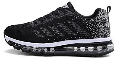 tqgold Unisex Herren Damen Sportschuhe Laufschuhe mit Luftpolster Turnschuhe Profilsohle Sneakers Leichte Schuhe (Schwarz Rot,45 EU)