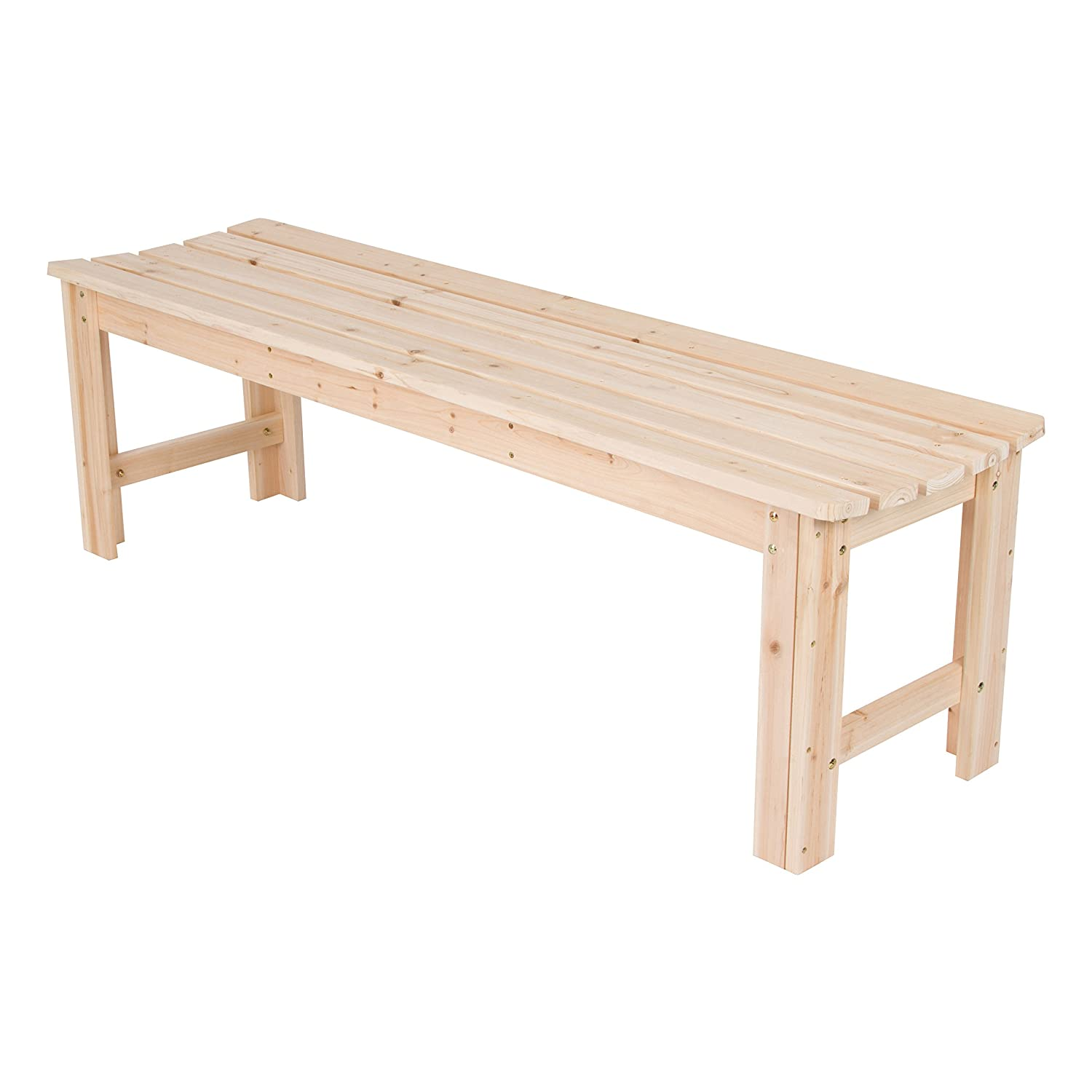 Shine Company Inc. 4205N Backless Garden Bench, 5 Ft, Natural
