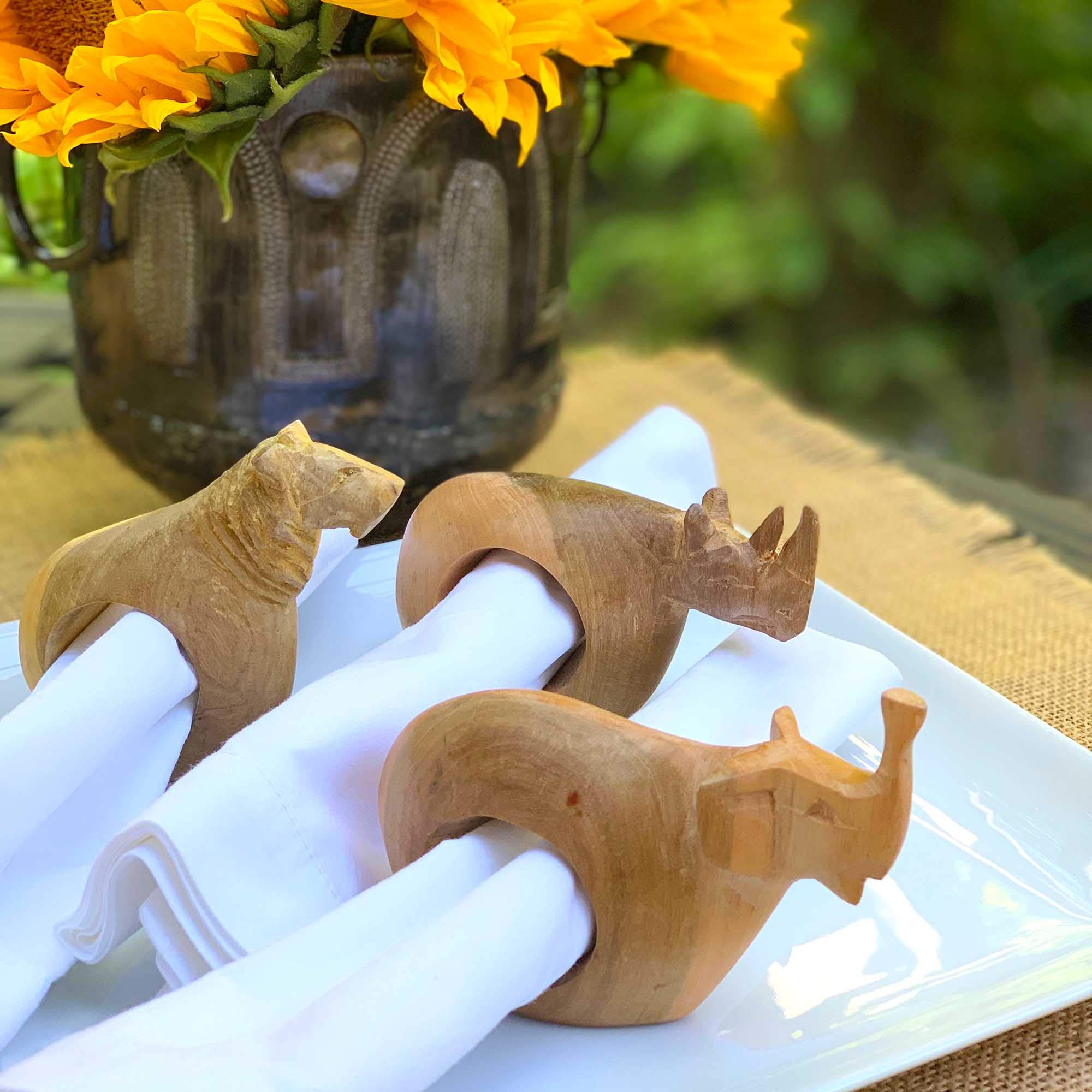 Global Crafts Mahogany Wood Animal Napkin Rings - Set of Six by Global Crafts