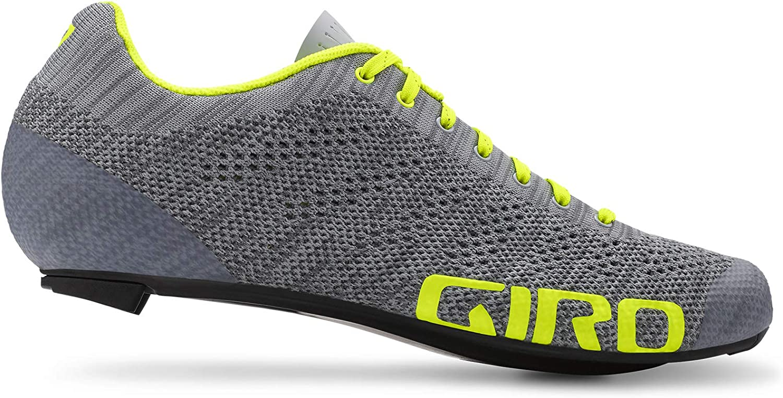 Giro Empire E70 Knit Mens Road Cycling Shoe − 45.5, Grey Heather/Highlight Yellow (2020)