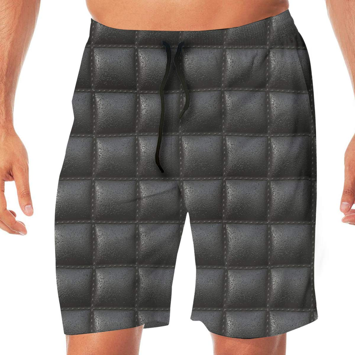 XXL L Cbyan Black Cell Leather Beach Pants Mens Quick Dry Sports Shorts with Mesh Lining M XL