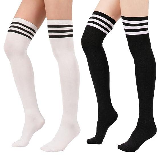 Zando - Calcetines para mujer de algodón, por encima de la rodilla, con tres