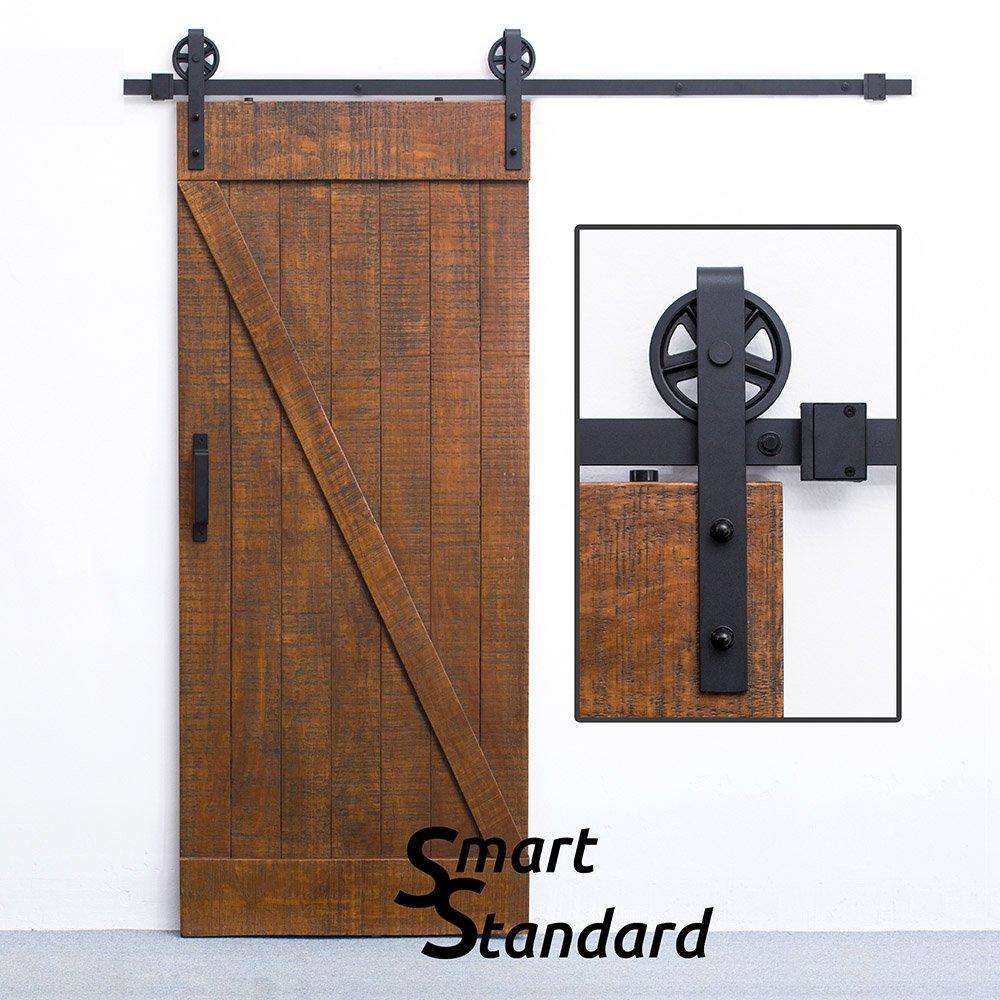 Amazon.com: SMARTSTANDARD 6.6 FT Sliding Barn Door Hardware (Black)(Big  Industrial Wheel Hanger)(1 x 6.6 Foot Rail): Home Improvement