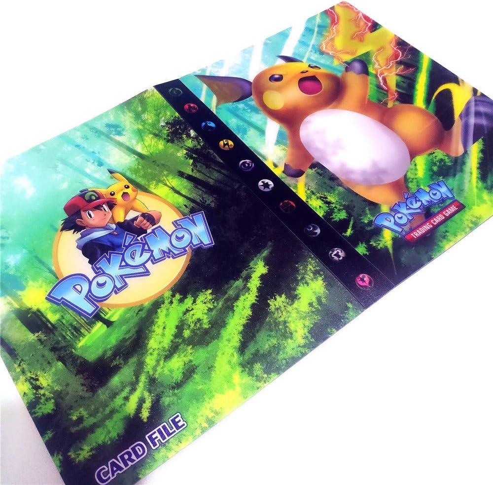 30 P/áginas-120 Bolsillos-Contiene 120 tarjetas individuales o 240 tarjetas dobles /Álbumes de almacenamiento de tarjetas coleccionables Raichu espalda con espalda /Álbum para cartas Pokemon