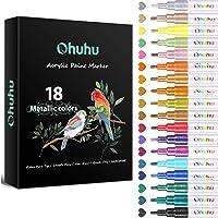 Metallic Acrylic Markers Pen, Ohuhu 18-color Paint Pens for Rock Painting Art, DIY Ceramic, Water-Based Metallic Glitter…