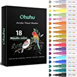 Metallic Acrylic Markers Pen, Ohuhu 18-color Paint Pens for Rock Painting