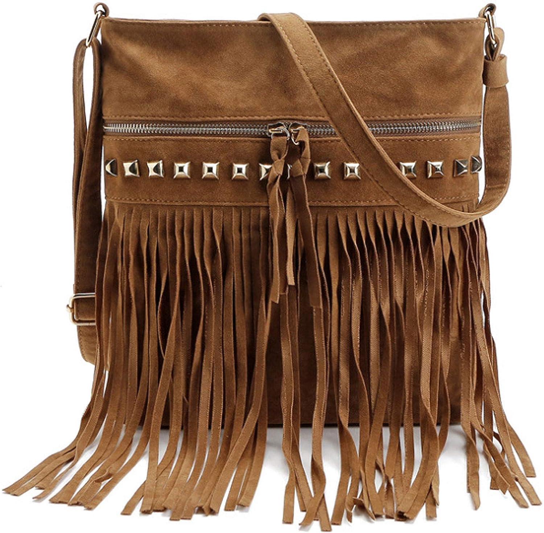 Buddy Handbag Women Rivet Shell Bag Fashion Tassel Shoulder Crossbody Bag Chic Tote Purse