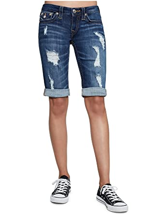 9a6340e456 True Religion Women's Knee Length Distressed Folded Bermuda Shorts w/Flap  in Midnight Destroyed (