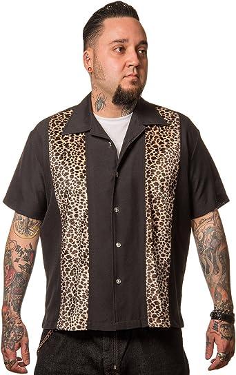 Steady Clothing - Camisa de bolos vintage para hombre, diseño de leopardo