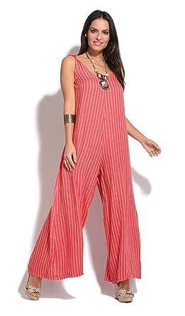 Amazon.com: Couleur Lin Jumpsuit Daniela Coral Women Spring/Summer ...