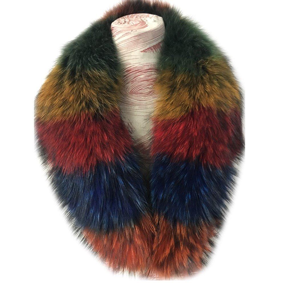 Gegefur Women's Detachable Genuine Raccoon Fur Collar Scarf 6 color (90cm, multicolour)