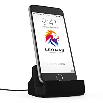 Leonas® Cargador estación para Apple iPhone X 8 7 6 6S 5 se en Negro