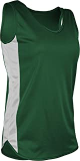 product image for TR-980W-CB Women's Athletic Lightweight Single Ply Track Singlet with Side Panels (Large, Kelly/White)