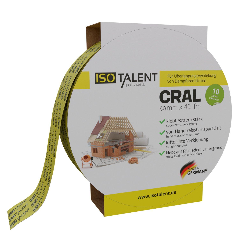 OSB Dach Folie Gr/ün - 60mm x 40lfm zur Verklebung von Dampfsperrfolien CRAL Klebeband ISOTALENT Dampfbremsfolien Dampfbremse Dampfsperre