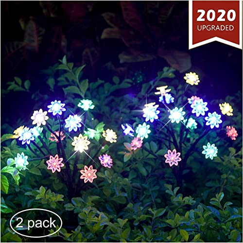 TONULAX Solar Garden Lights – Newest Solar Powered Landscape Tree Lights with Larger Solar Capacity, Solar Decorative Lights Outdoor for Pathway, Patio, Front Yard Decoration 2 Pack