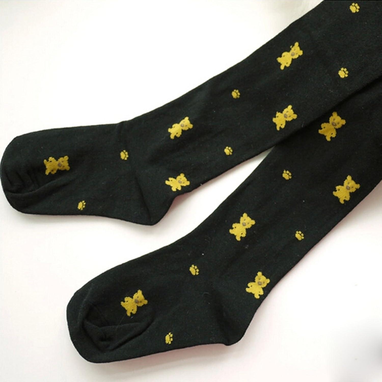 1X Child Girl Bear Print Knitting Cotton Long Stockings Pantyhose Black Size: S