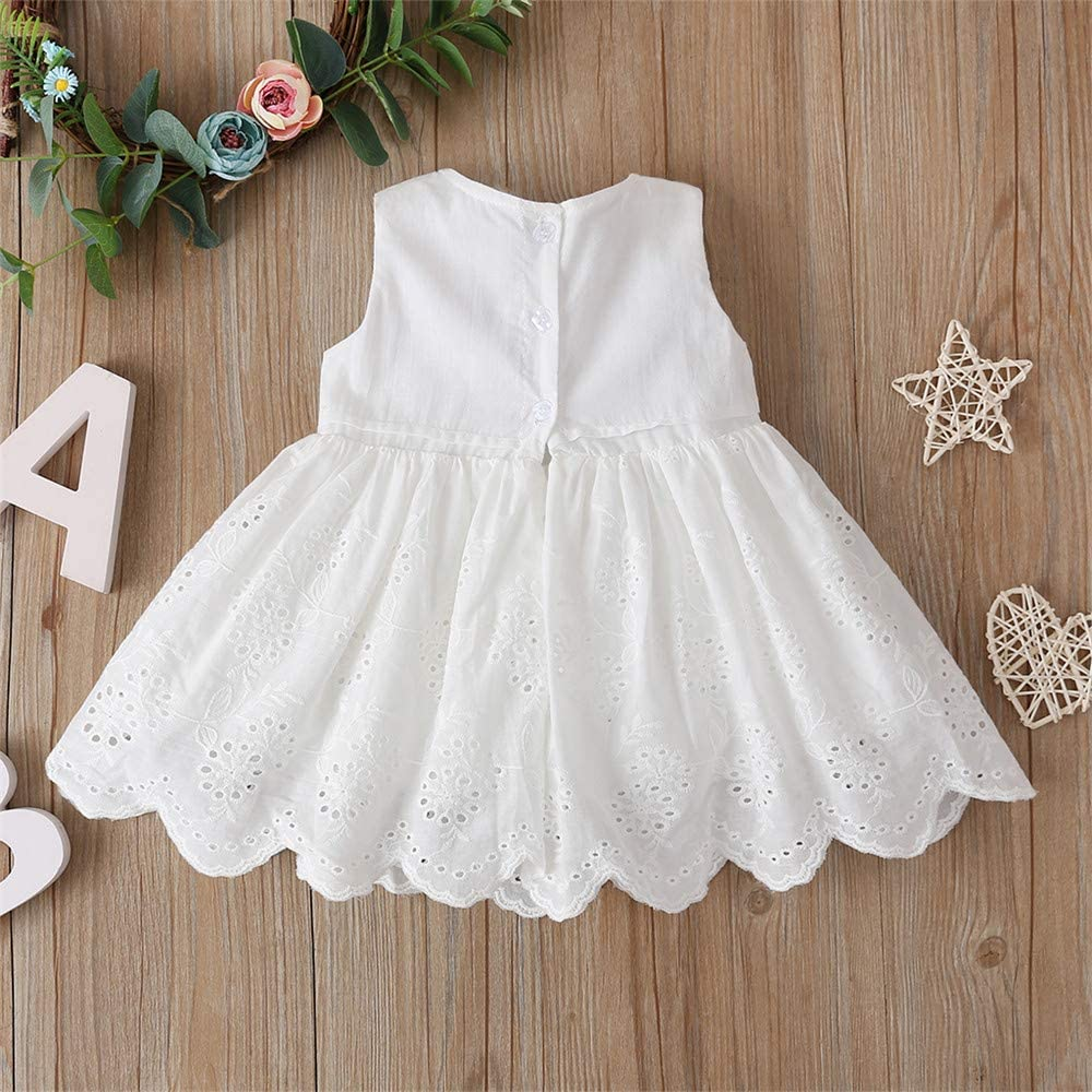 DuAnyozu Toddler Kids Baby Girl Flower Dresses Sleeveless Summer Casual Princess Party Dress Outfit Clothes