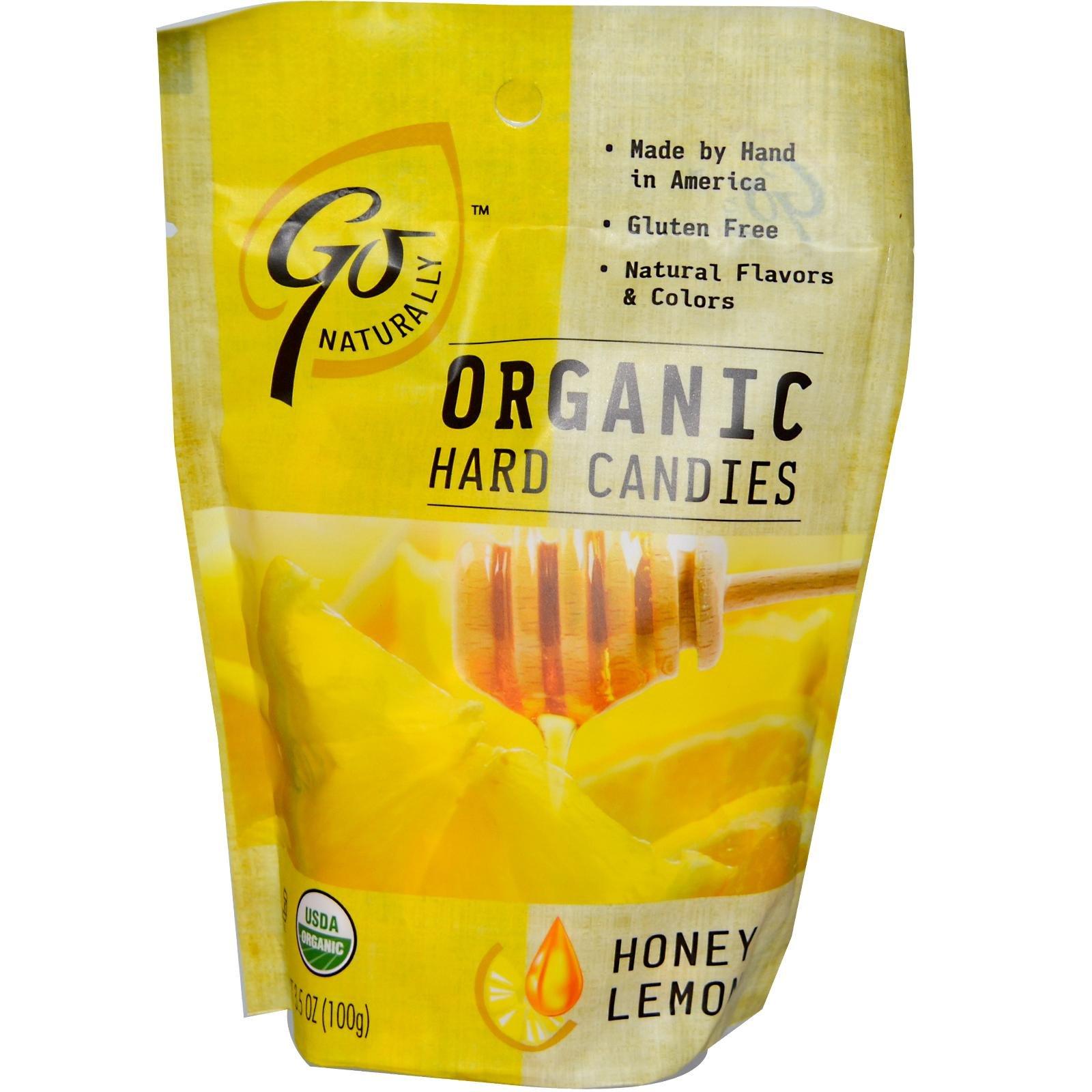 GoNaturally Organic Honey Lemon Gluten Free Hard Candies, 3.5-Ounce Bags (Pack of 6)