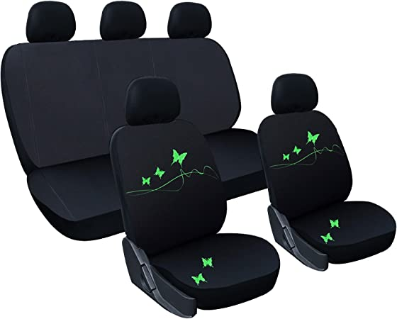 Woltu As7305 Universal Schonbezüge Für Auto Sitzbezug Sitzschoner Autositzbezug Butterfly Stickerei Schwarz Grün Auto