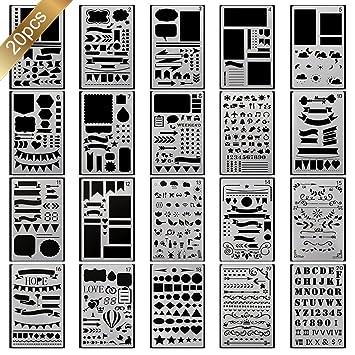 20 Stück Schablone Bullet Journal Set über 1000 verschiedenen ...