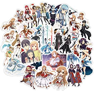 50 Pcs Stickers for Sword Art Online,Aesthetic Stickers for Water Bottle Laptop Skateboard Luggage Flask Computer Car Phone,Cool Trendy Vinly Waterproof Stickers for Teens Boys Kids Girl Adults.