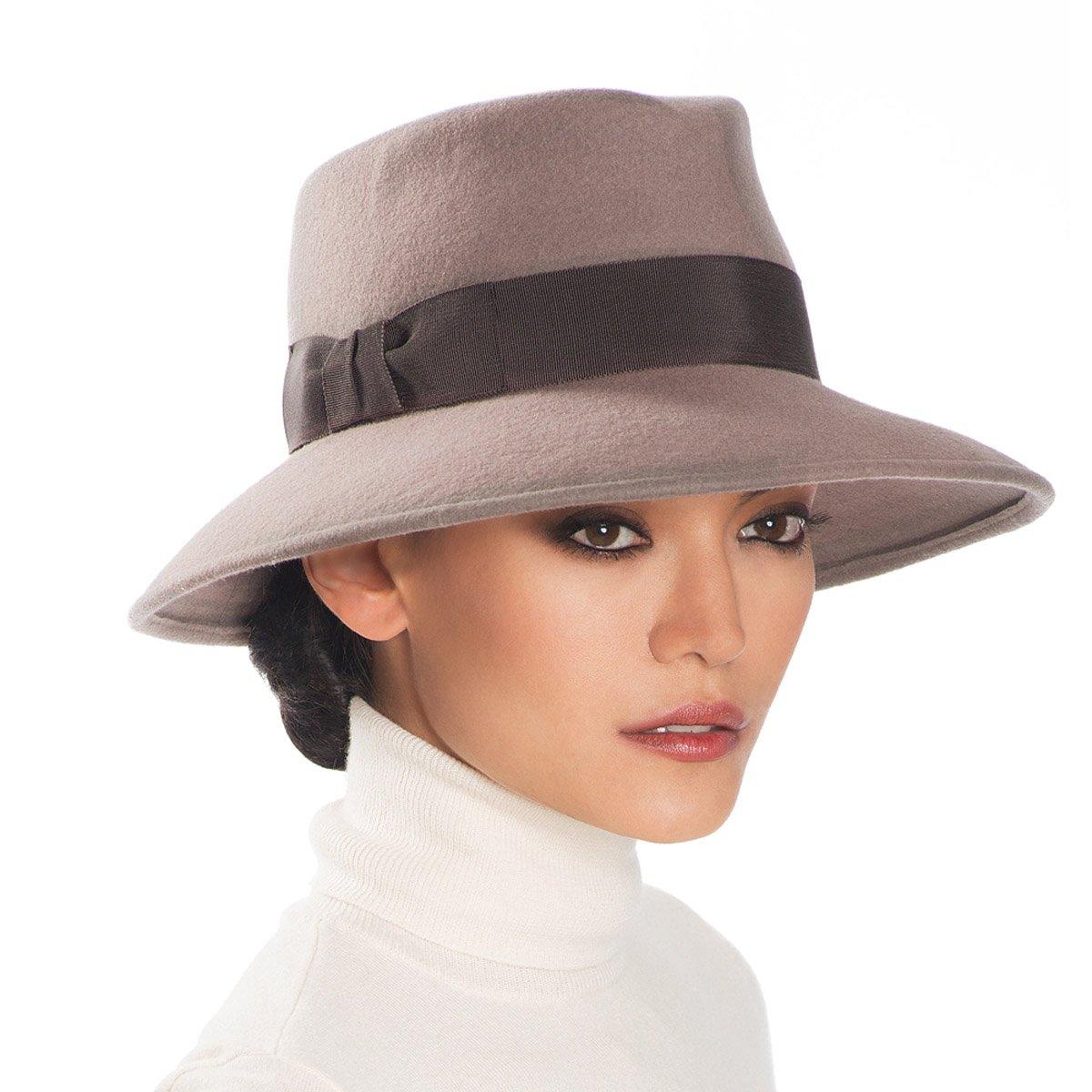 Eric Javits Luxury Fashion Designer Women's Headwear Hat - Wool Kim - Taupe by Eric Javits