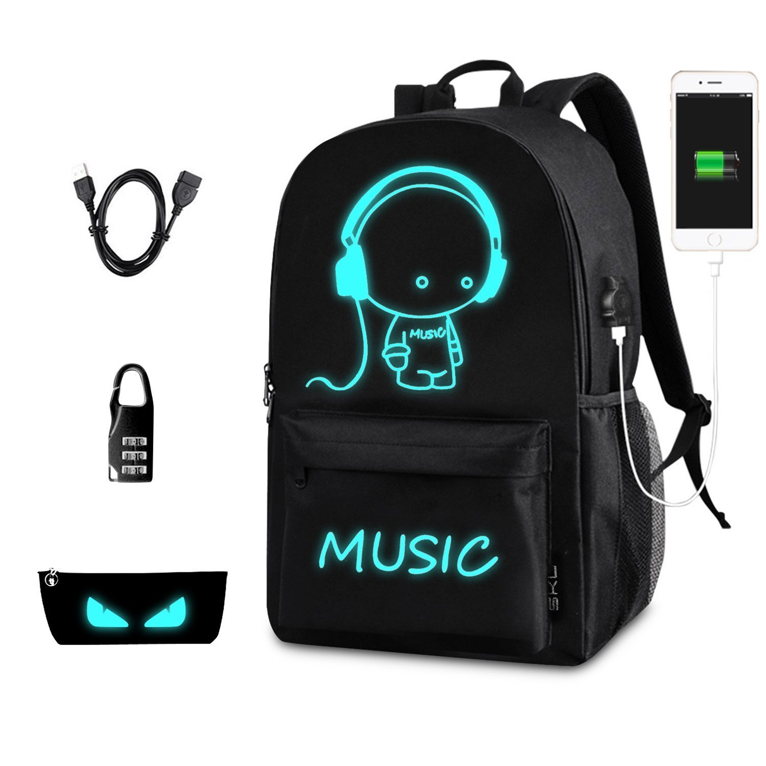 Anime Backpack for School, SKL Luminous Backpack Cartoon Backpack with USB Cable and Pencil Bag for Teens Girls Boys-Black Big Size