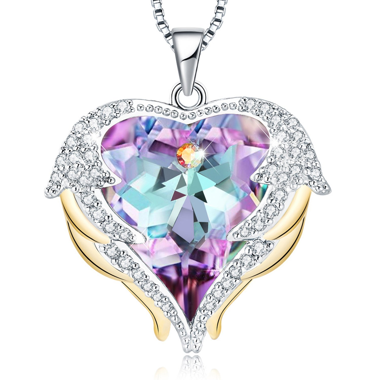 Mevecco ''Heart Of the Ocean'' Heart Pendant Necklace Made with Swarovski Crystals-NK10-Vol Light