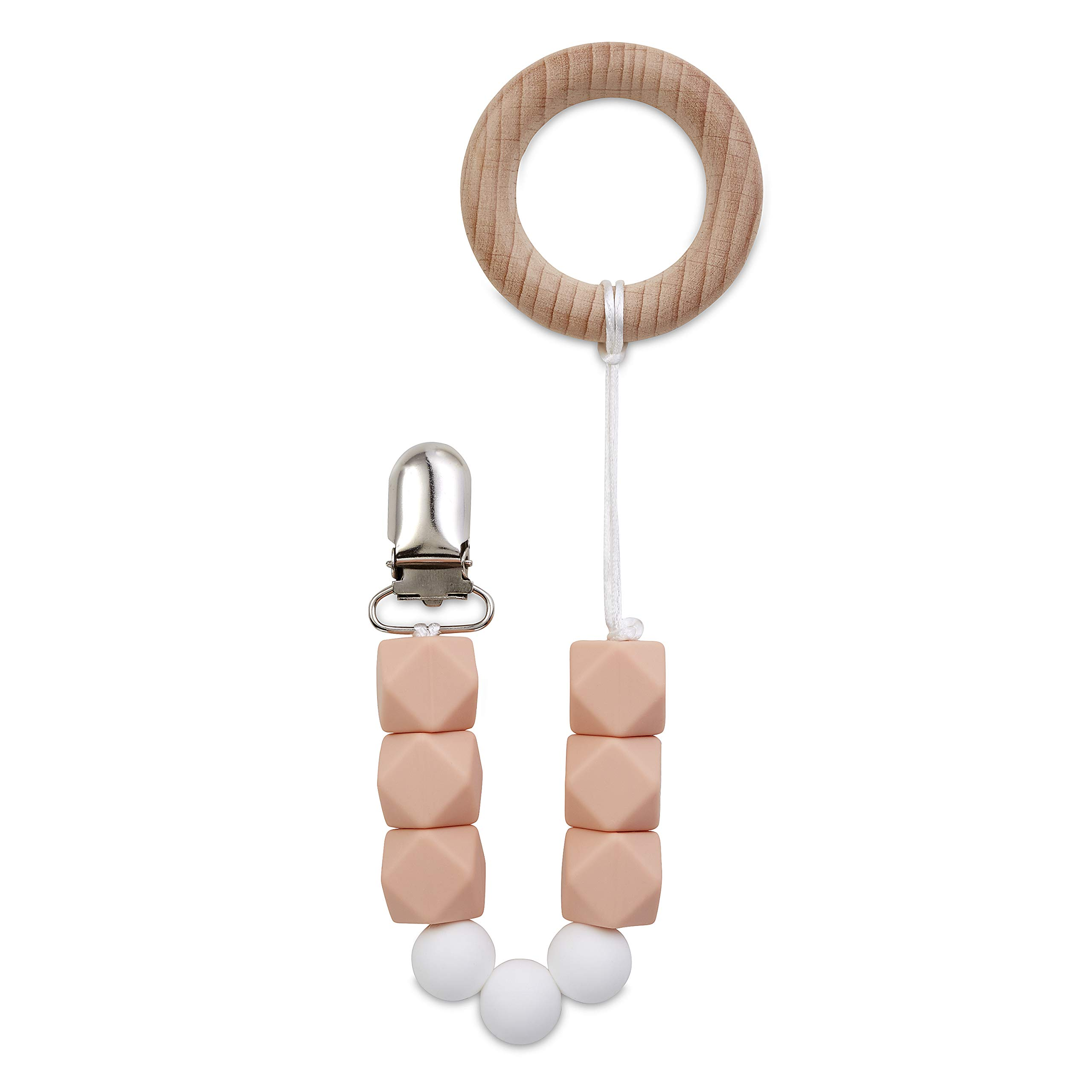 Pacifier Clip by Babe Basics: Handmade Natural Wood & BPA Free Silicone Dummy Chain Teething Toy (Peach) by Babe Basics