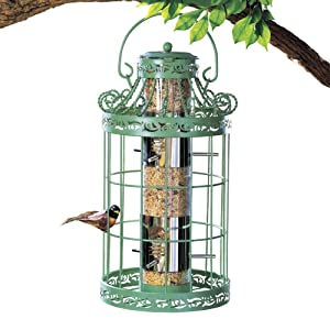 "Collections Etc Springtime Hanging Bird Feeder, Vintage French Country-Inspired Green Design, 7 3/4"" L x 7 3/4"" W x 16 1/2"" H, Green"