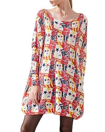 e3cb9d7151fd MISSKERVINFENDRIYUN YY4 Women s Star Printed Long Bat Sleeve Pullover  Sweater Dress (Color   Off White