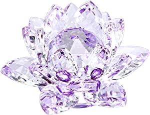 OwnMy Sparkle Crystal Lotus Flower Hue Reflection Feng Shui Home Decor with Gift Box (4 Inch/ 100MM Purple)