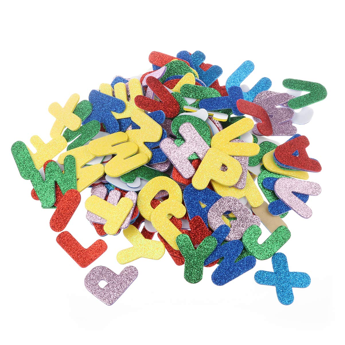 SUPVOX 150 Pcs Foam Letter Stickers, Multicolored Self-Adhesive Glitter Foam Letters, 1.31.5 Inch Foam Alphabet for Kids DIY Craft