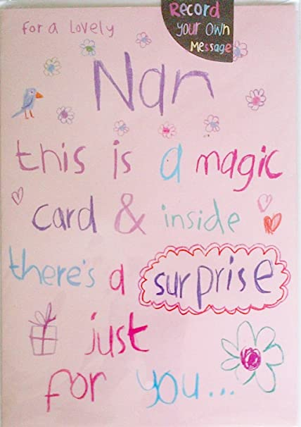 For A Lovely Nan Birthday Card Record Your Own Message Amazon