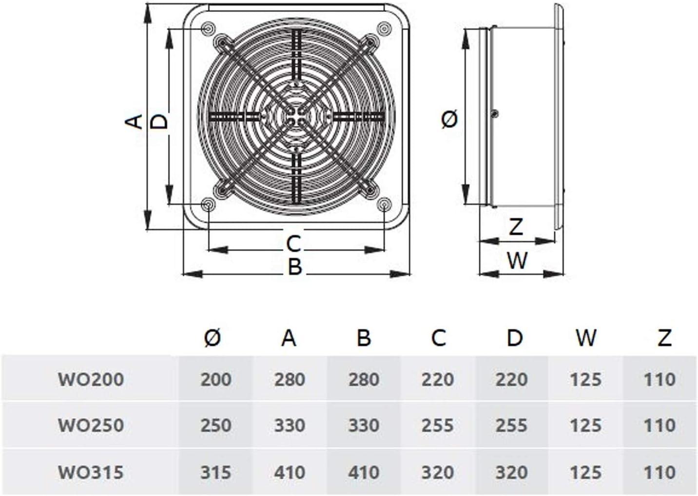 Industrial ventilador Extractor 315/mm 230/V//50Hz 1220/M3//H 51/W 12.4inch