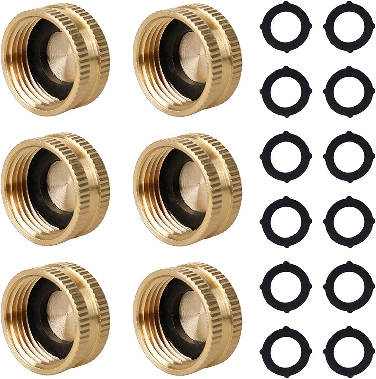 Raincovo Garden Hose Cap with Female End, Outdoor Faucet Cap, Brass, 3/4 Inch, 6 Pack with Extra 12 Washers
