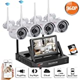 Swinway CCTV Camera Systems, Wireless Security Camera System with Hard Drive 1TB+ Monitor, Home Security Camera Systems HD 4 Home Surveillance Camera Outdoor 720p Wireless Wifi NVR Kit 4Channel