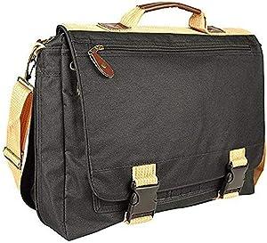 """ImpecGear 16.5"""" 17"""" Inches Expandable Laptop Case Briefcase Messenger Bag Computer Bag (DPFG Black/Khaki 16"""")"""