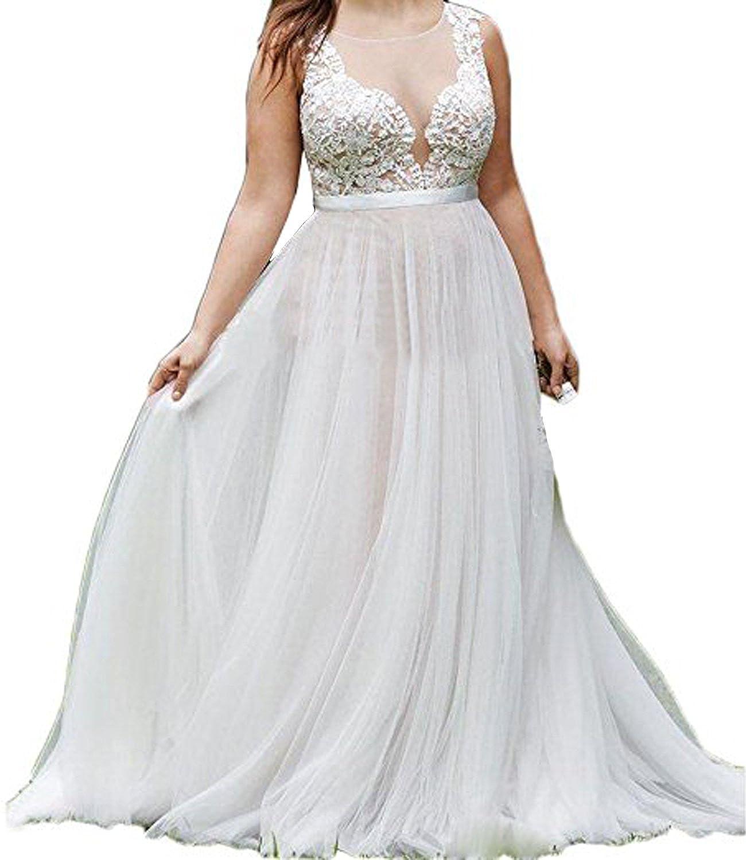 Alanre Women\'s Plus Size Wedding Dress Lace Tulle Sheer Bridal Gowns ...