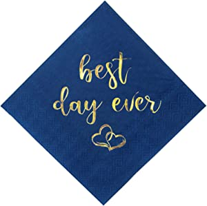 Crisky Wedding Cocktail Napkins Navy Blue Gold Best Day Ever Napkins for Wedding Dessert Beverage Table Decorations Wedding Party Supplies 100 Pcs, 3-ply