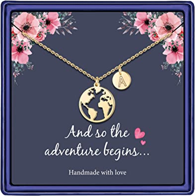 Graduation Gifts for Her, 14K Gold Plated Graduation Necklace Disc Double Side Engraved Hammered Initial Necklace Earth World Map Necklace College High School Graduation Gifts for Her