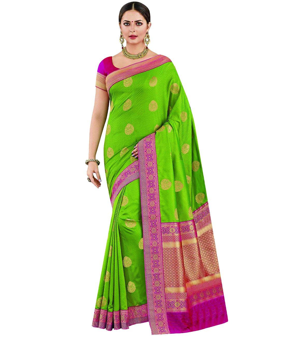 Indian Ethnic Art Silk Light Green Banarasi Saree