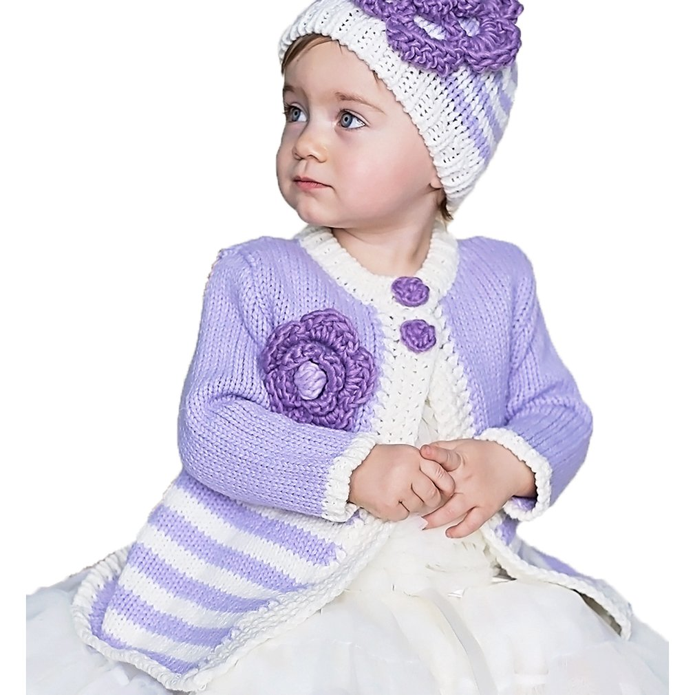 3-4 Years Huggalugs Girls Purple Periwinkle Ziggy Cardigan Sweater
