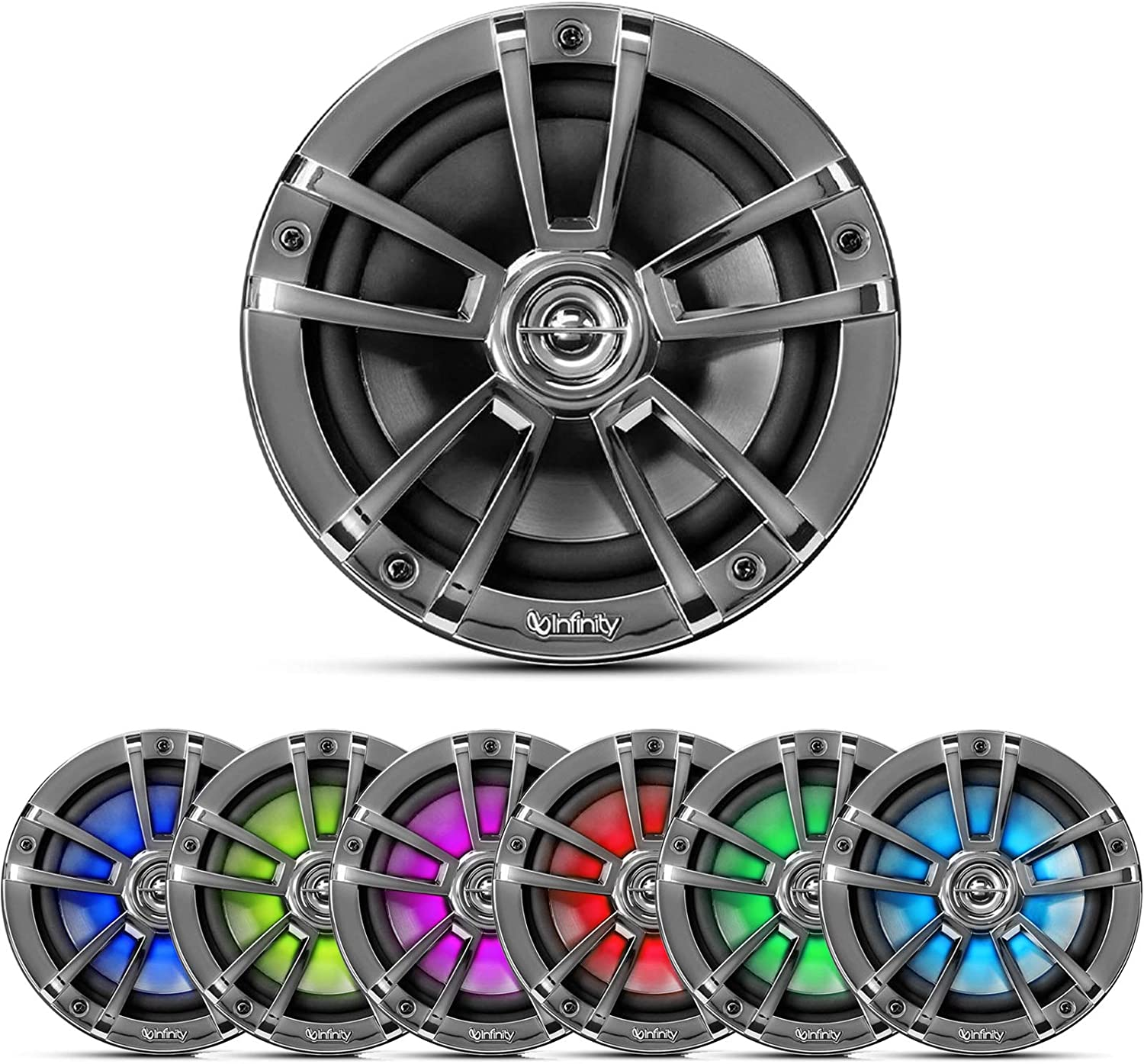 2 Pairs of OEM Replacement 6.5 2-Way Coaxial Marine Audio Multi-Element Boat Speakers with Multi-Color RGB Lighting Option White QTY 4