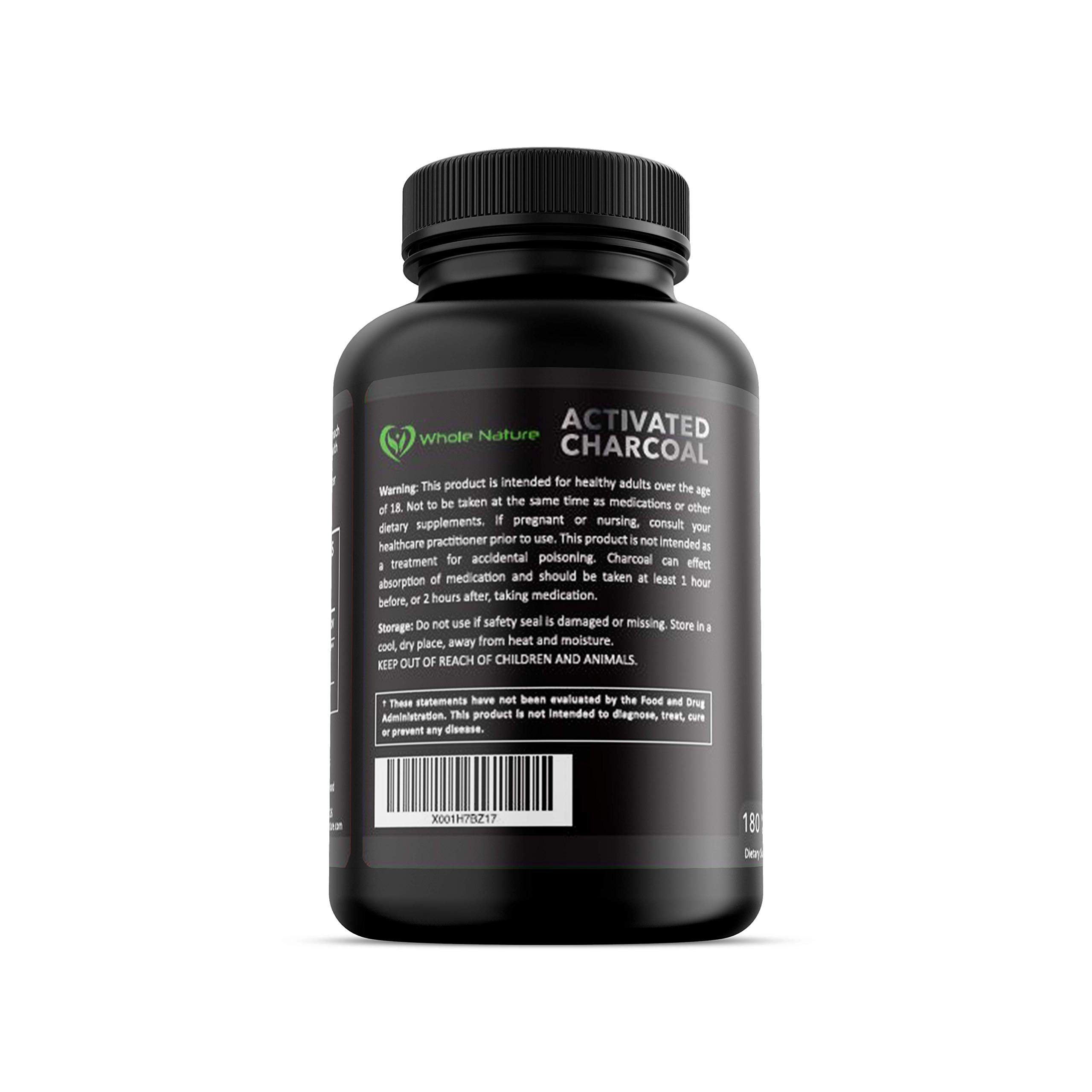 Whole Nature 180 Capsules Pure Organic Coconut Activated Charcoal Supplements Natural Pills for Body Detox Digestive System Teeth Whitening Detoxification Gas Stomach Bloating Tablets by Whole Nature (Image #8)