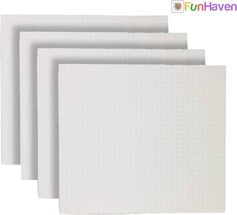 FunHaven Placas Base Grandes [Paquete de 4] Construcción baseplates Cabezal para niñas niños 25 x 25 cm 10x 10 Pulgadas Accesorios Placas Base compatibles con Las Principales Marcas (Blanco)