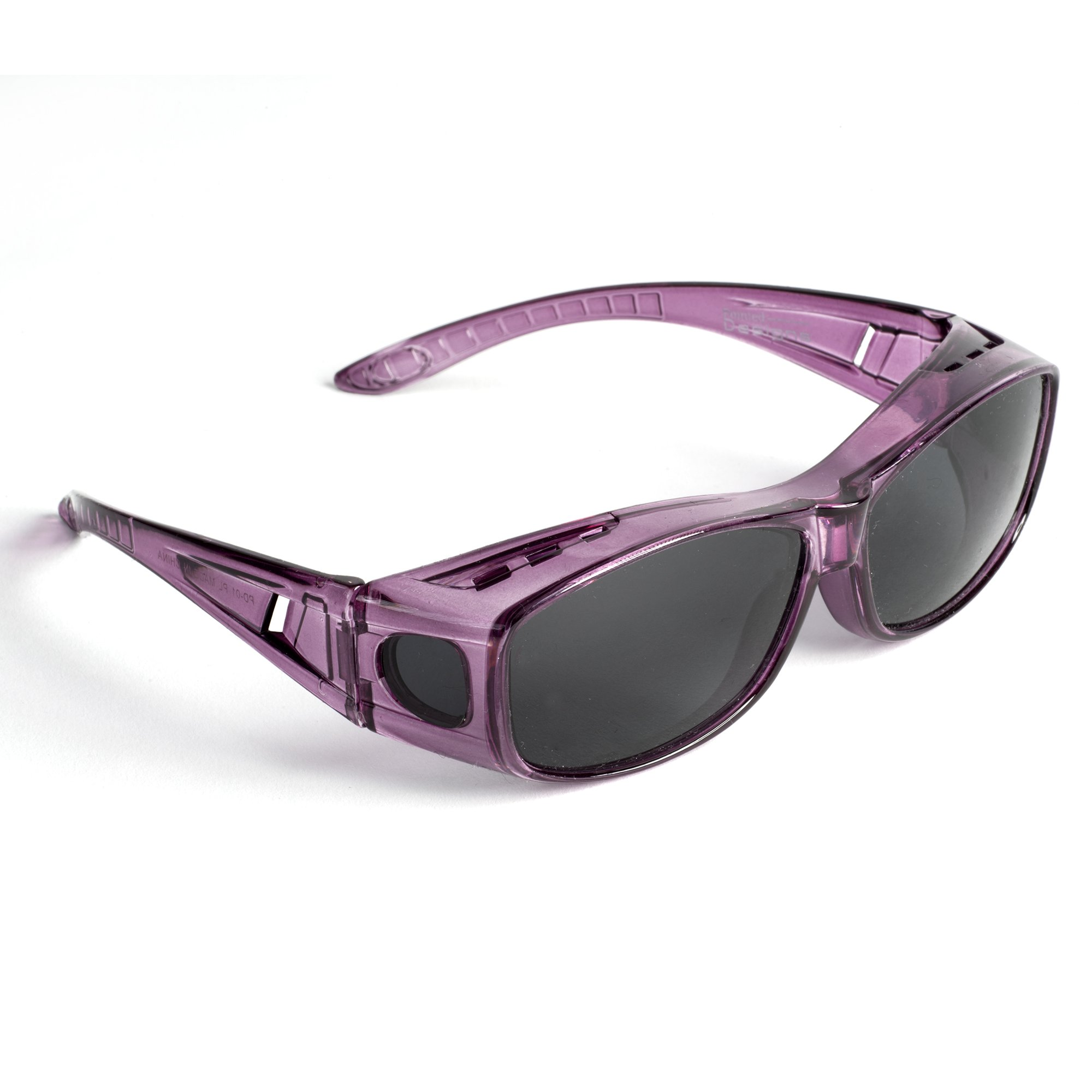Over Glasses Sunglasses - Polarized Fitover Sunglasses with 100% UV Protection - Style 1 By Pointed Designs (Purple)