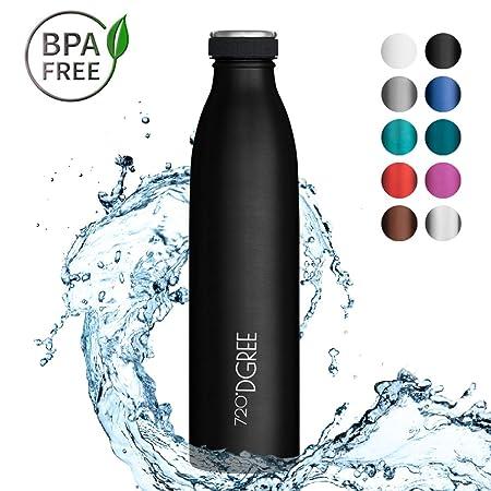 720°DGREE Botella Agua Acero Inoxidable milkyBottle – 750 ml, 750ml, Negro | Novedoso Antigoteo con Termo de vacío térmico termica Beber en el Camino ...