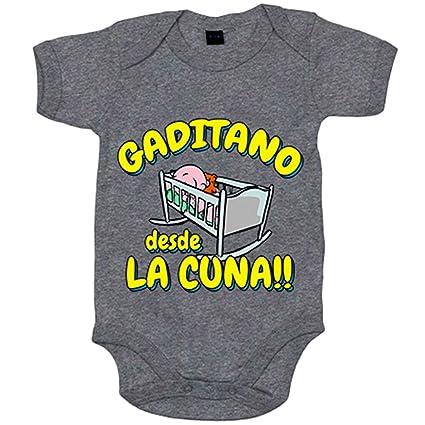 Body bebé Gaditano desde la cuna Cádiz fútbol - Gris, 6-12 meses
