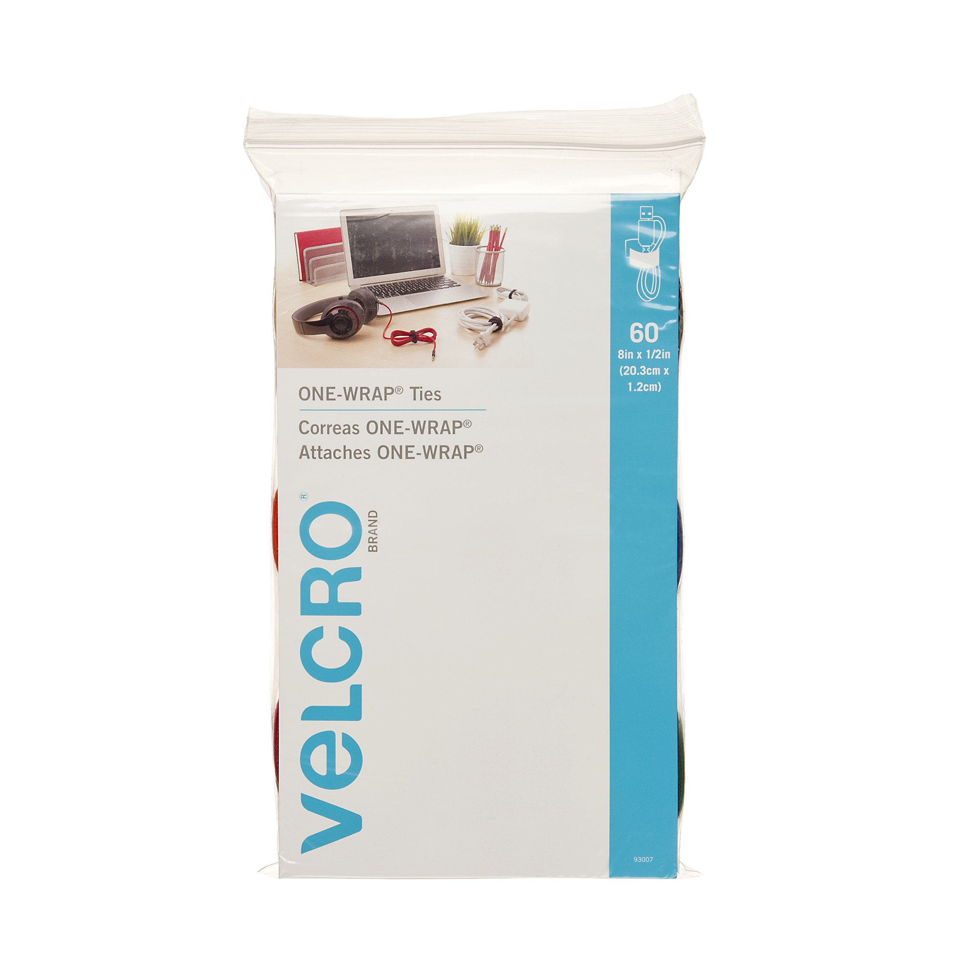 VELCRO Brand ONE-WRAP Ties | Cable Management, Wires & Cords | Self Gripping Cable Ties, Reusable | 60 Ct -  8'' x 1/2'' | Multi-color